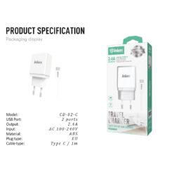 ΦΟΡΤΙΣΤΗΣ CD-82 2,4 A 2 USB & ΚΑΛΩΔ.Type C 1m